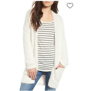 Dreamers Cream Fuzzy Open Cardigan Size Small